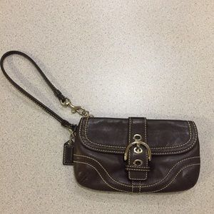 Leather Coach wristlet